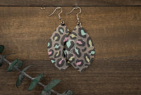 Jelly Pastel Leopard Leaf Earrings