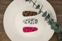 LIMITED EDITION! Fuzzy Leopard Snap Clips