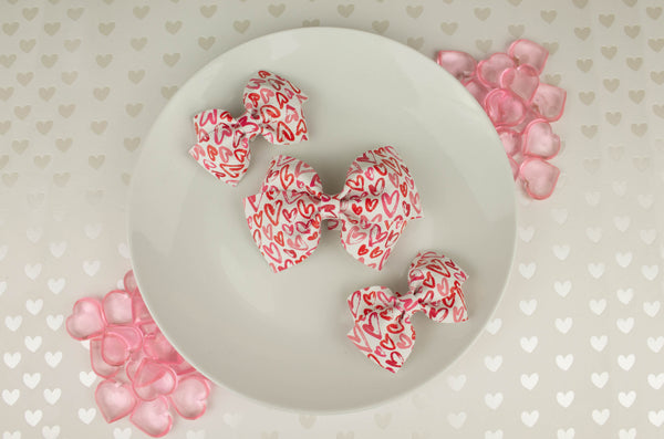 Pink Hand Drawn Hearts Amelia Bow