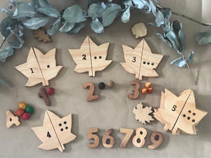 Wooden Leaves Number Match Set