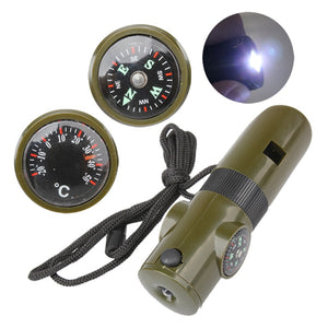 7 in 1 Mini SOS Survival Kit Camping Survival Whistle With Compass Thermometer Flashlight Magnifier tools For Outdoor Hiking