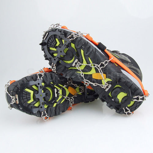 1pair 12-Teeth Outdoor Sports Anti-Slip Ice Gripper Cleats Shoe Boot Grips Crampon Chain Spike Snow for Hiking Climbing