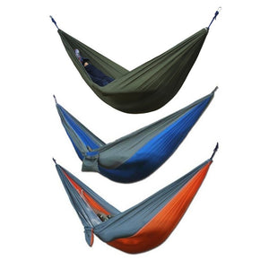 Indoor Outdoor Hanging Hammock Couple Two People Strengthen Parachute Cloth Strong Rope For Travel Camping Beach