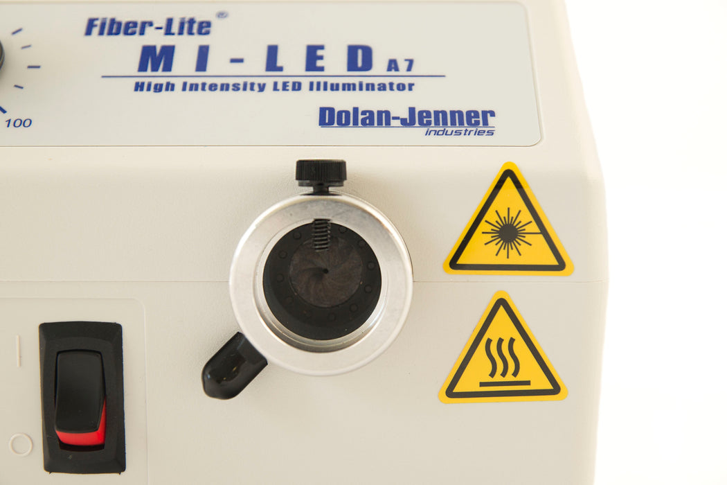 Dolan-Jenner Fiber-Lite Mi-LED-US-A7 with close up of 25mm manual iris
