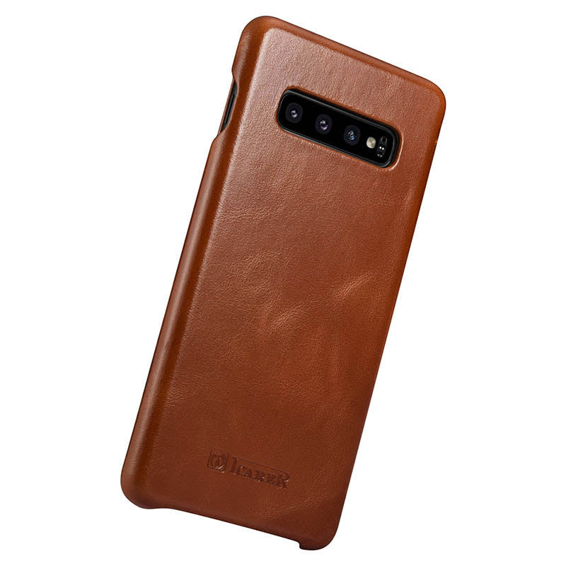 Samsung S10 Leather Cover Brown