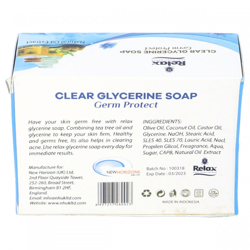 Relax Natural Oil Extracts Germ Protect Clear Glycerine Soap 125g