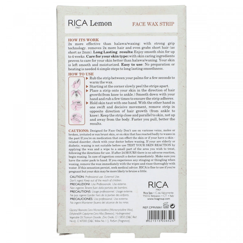 Rica Italy Lemon Face Wax Strip Contain 20 Strips For Normal Skin