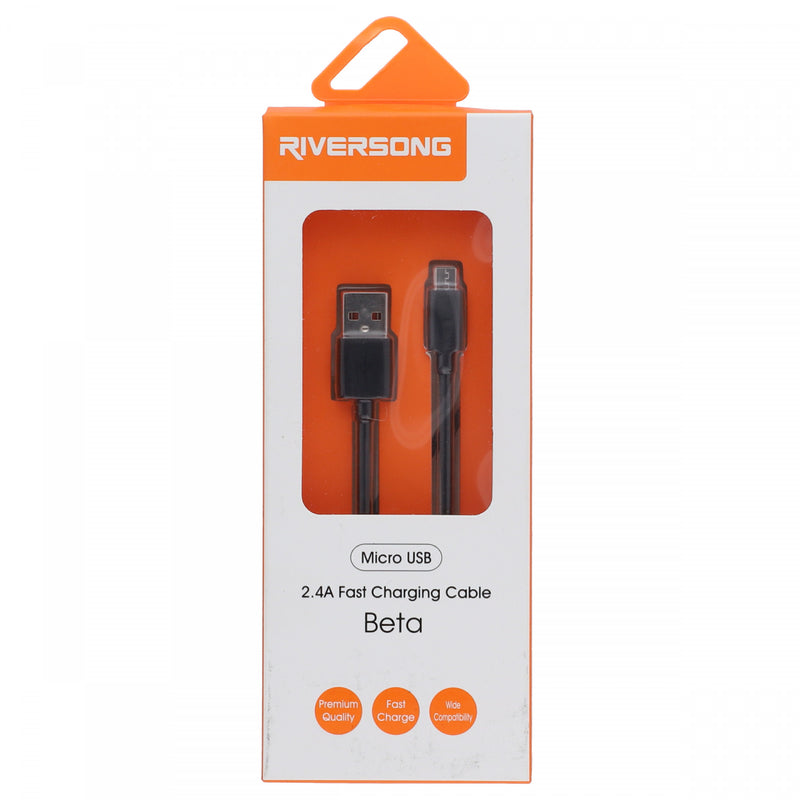 Riversong Micro USB 2.4A Fast Charging Cable Beta Black