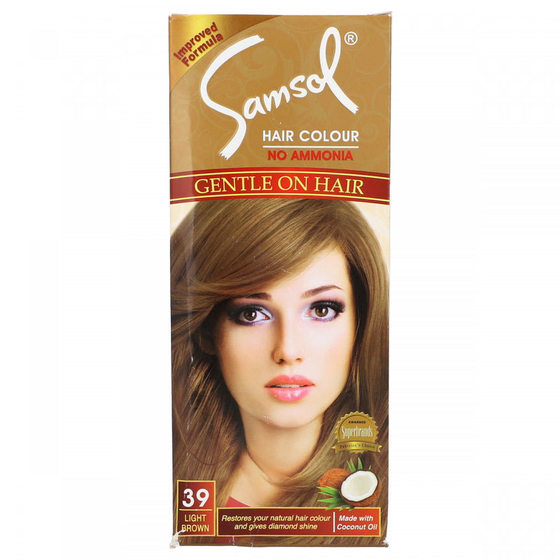Samsol Hair Color No Ammonia 39 Light Brown 100g