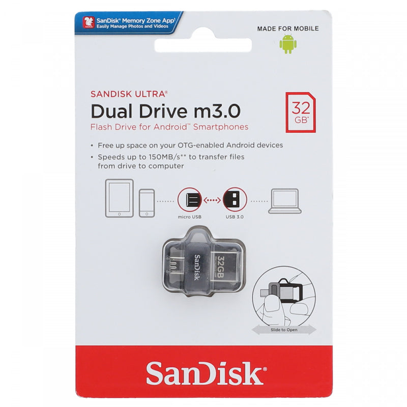 Sandisk Ultra Dual Drive m3.0 Flash Drive For Android Smartphones 32GB Black