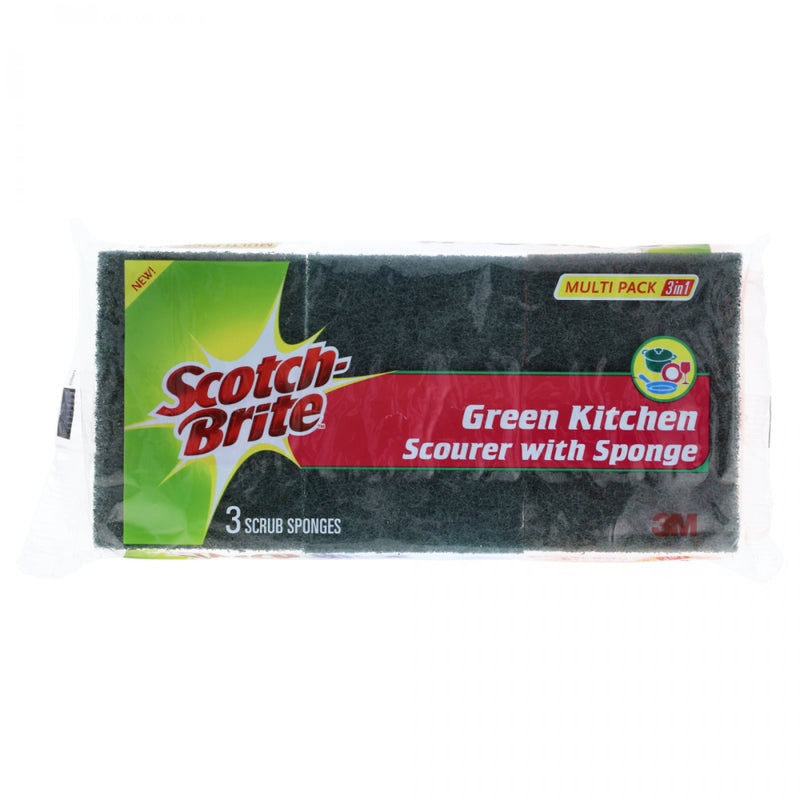 Scotch-Brite 3 Scrub Sponges Green Kitchen Scourer with Sponge