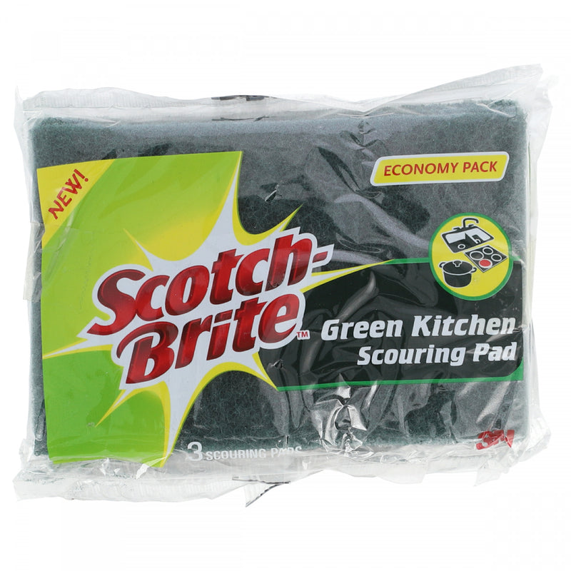 Scotch Brite Green Kitchen Scouring Pad Economy Pack 3 Scouring Pads Pack of 3