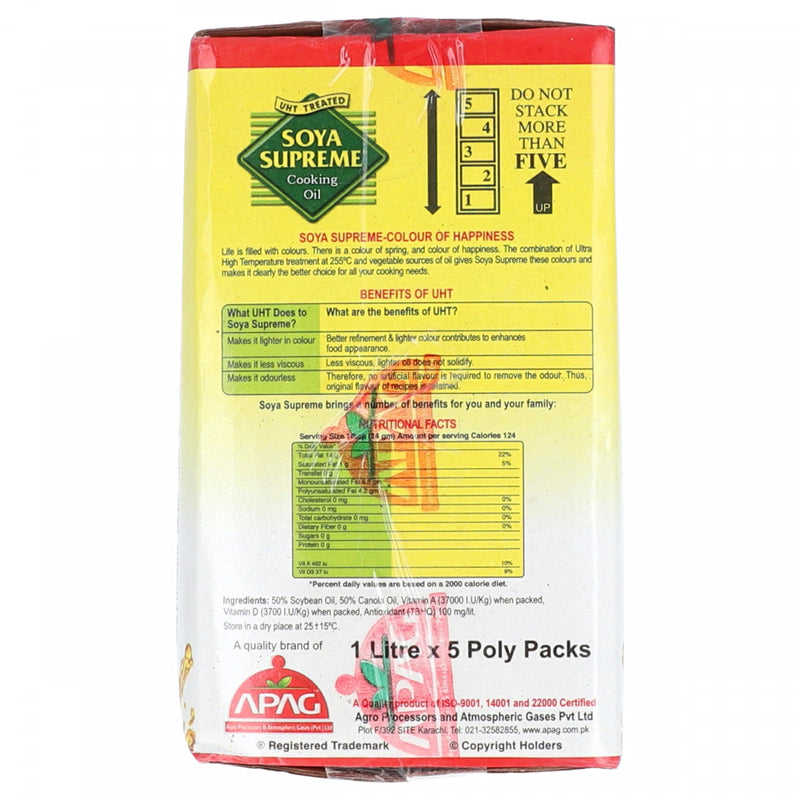 Soya Supreme Cooking Oil No Cholesterol 5 x 1 Litre Poly Packs