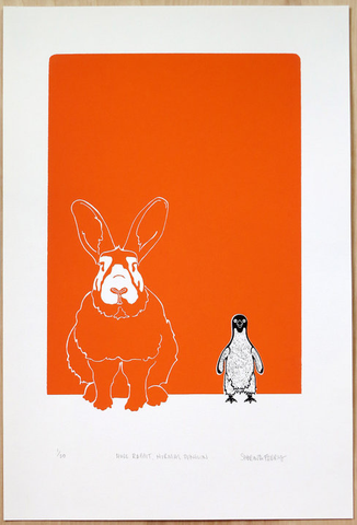 "Sabrina Ferry - ""Huge Rabbit, Normal Penguin"" Print"