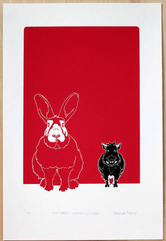 "Sabrina Ferry - ""Huge Rabbit, Normal Wild Boar"" Print"