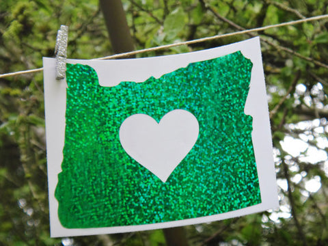 Oregon Heart Glitter Sticker