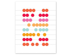 "Abstract Abacas - Pink/Orange Modern Math Art Print, 8"" x 10"""