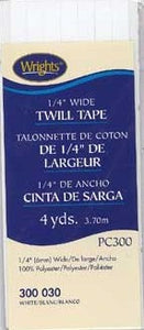 "1/4"" Wide Twill Tape, 6mm x 3.7m, 100% Polyester White 030"