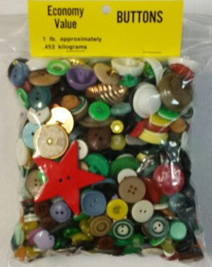 Bag of Buttons, 1 pound assorted
