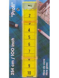 "Tape Measures With cm And Inch Scale, Profi Fibre Glass - 100"" - 254cm - Yellow"