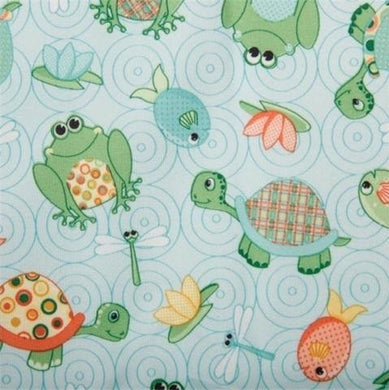 Babyville Pul Fabric Turtles & Frogs/Turquoise, 64