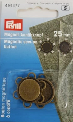 Magnetic Sew-on Button, Metal, Antique Brass, 25mm, 2 count