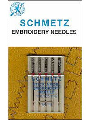 Schmetz Embroidery Needles, 5 Count, Assorted Sizes, 75, 90