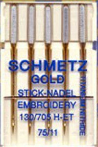 Schmetz Embroidery GOLD Needles, 5 Count, (Bulk Package, Carded)
