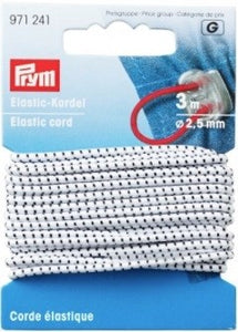 Elastic Cord, 2.5mm, White/black, 3m