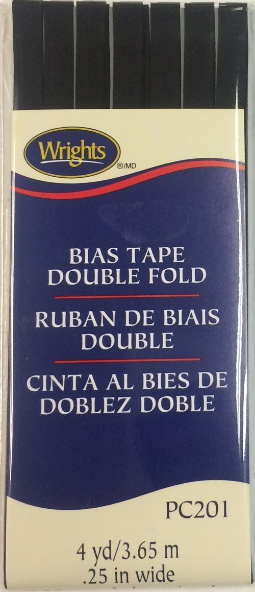 Bias Tape Packaged Double Fold 6mm x 3.65m Black 031