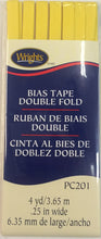 Bias Tape Packaged Double Fold 6mm x 3.65m Canary 086