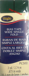 Bias Tape Packaged Double Fold 6mm x 3.65m Jungle Green 081