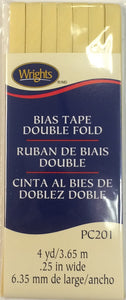 Bias Tape Packaged Double Fold 6mm x 3.65m Lemon Ice 012