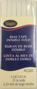 Bias Tape Packaged Double Fold 6mm x 3.65m Oyster 028