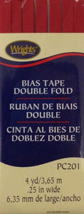 Bias Tape Packaged Double Fold 6mm x 3.65m Red 065