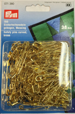 Safety Pins, curved 38mm, Gold Color
