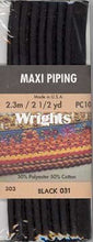 Wright's Corded Piping 13mm Black 031