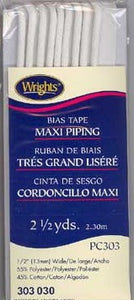 Wright's Corded Piping 13mm White 030