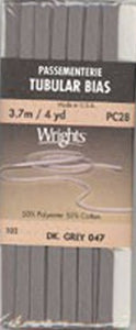 Wright's Passementerie Tubular Bias, 3.7m Dark Grey 047
