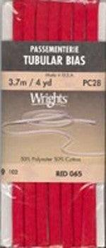Wright's Passementerie Tubular Bias, 3.7m Red 065