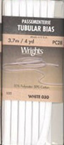 Wright's Passementerie Tubular Bias, 3.7m White 030
