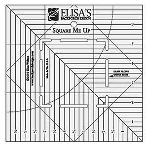"Square Me Up Ruler: Designed to be used with 10"" and 5"" squares to make half-square triangles (HST)"
