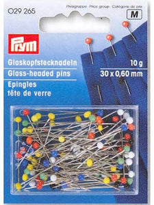 Glass-headed Pins 30 x 0.60mm assorted colours