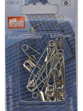 Safety Pins, hardened steel, 50mm, 12 count