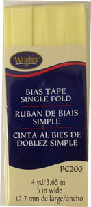 Wright's Single Fold Bias Tape Packaged 13mm Wide Baby Maize 927