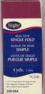 Wright's Bias Tape Packaged Single Fold 13mm x 3.7m Berry 084