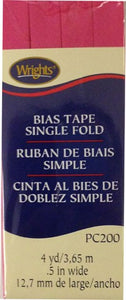 Wright's Bias Tape Packaged Single Fold 13mm x 3.7m Berry Sorbet 1232