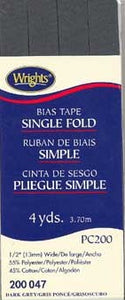 Wright's Bias Tape Packaged Single Fold 13mm x 3.7m Dark Grey 047
