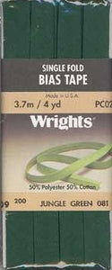Wright's Bias Tape Packaged Single Fold 13mm x 3.7m Jungle Green 081