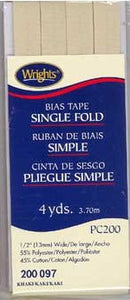 Wright's Bias Tape Packaged Single Fold 13mm x 3.7m Khaki 097
